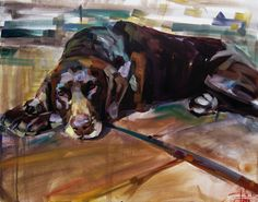 Jake the German Pointer, Oil on canvas, 60X75 cm, Portrait Painting by Jack Banister