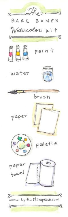 The Bare Bones Watercolor Kit - a down and dirty guide for watercolor beginners // www.lydiamakepeace.com