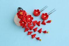 七五三☆椿の髪飾り 赤 Uピン花2輪 - 餡蜜優花
