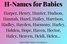 H Names For Babies H Baby Names Baby Names Twin Names
