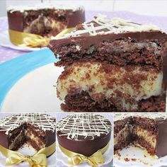 Ingredientes para o bolo  - 75g de açúcar  - 75g de margarina gelada  - 1 ovo  - 75g de farinha de trigo com fermento  - 4 colheres (de sopa) de chocolate em pó  - Ingredientes para o recheio  - 1 lata de leite condensado (395g)  - 1 caixinha de creme leite (200g)  - 50g de coco ralado  - Ingredientes para a cobertura  - 170g de chocolate meio-amargo (ou ao leite) fracionado (também chamado de cobertura)  - 50g de chocolate branco fracionado (opcional)