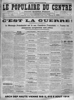 une du journal quotidien r gional le courrier du centre publi le lundi 3 ao t 1914 ad87. Black Bedroom Furniture Sets. Home Design Ideas