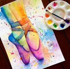 Colourful watercolour painting of ballet slippers by Jess Elford. Colourful watercolour painting of ballet slippers by Jess Elford. Watercolor Illustration, Watercolor Paintings, Watercolour, Watercolor Mandala, Dance Paintings, Ballet Art, Ballet Painting, Art Drawings Sketches Simple, Sketch Art