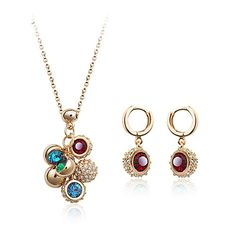 Authentic Austrian colorful crystal 18k gold plated simple fashion necklace earrings jewelry set [JS423] - US$16.01 : www.evernewfashion.com