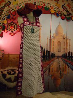 Vtg 70s Hippie Boho Knit Crochet Granny Square Cutout Sheer Festival Hippy Dress | eBay
