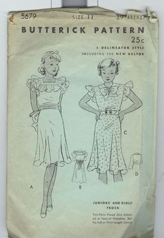 Butterick 5679 | 1930s Junior and Girls' Frock