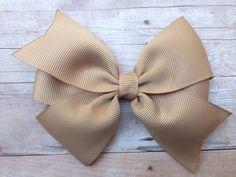 Tan hair bow - khaki hair bow on Etsy, $4.25