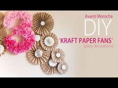 DIY Kraft Paper Fans / Abanicos de Papel ( Party Decoration - Decoracion de Fiestas) - YouTube