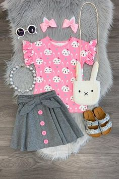 Brielle Bunny Skirt Set You are in the right place about baby girl dresses red Here we offer you the Little Girl Outfits, Little Girl Fashion, Little Girl Dresses, Fashion Kids, Toddler Fashion, Fashion Images, Fashion Clothes, Fashion Sewing, Girl Clothing