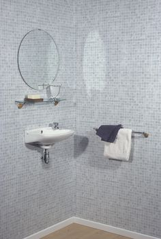 If your first impression of this wall was 'tiles', you would be wrong :). This tile-effect PVC panelling is almost indistinguishable from real, traditional tiling. Our tile effect panels are a perfect alternative to the expensive and troublesome application of traditional tiles. You can see the results for yourself at our sites gallery. Pvc Bathroom Wall Panels, Bathroom Paneling, Traditional Tile, Panelling, Tiling, Dream Bathrooms, Alternative, Mirror, Gallery