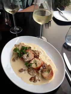 Yummy feta stuffed chicken breast on leek risotto with creamy mushroom sauce at Quinta Bar & Grill, Ilkley