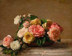 Ignace+Henri+Jean+Fantin-Latour+-+Roses+dans+une+coupe