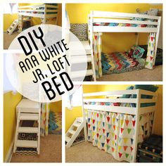 Ana White Jr. Loft Bed. Kids Wood Loft Bunk Bed with stairs and curtain  (I'd make it low loft instead)