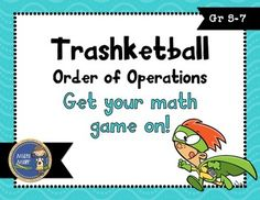 Trashketball Order of Operations involves students solving order of operations problems and shooting Fun Math, Math Games, Math Activities, Maths Resources, Preschool Math, Numerical Expression, Fifth Grade Math, Sixth Grade, Fourth Grade