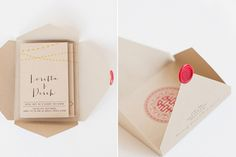 """Loretta says, """"Our wedding invites were our biggest DIY project. We made all the envelopes and cards ourselves, hand-folded and hand-sealed with a custom-crafted Chinese double happiness symbol."""""""