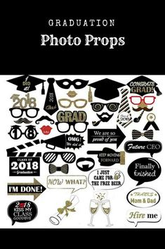 Graduation Photo Props Glitter, Large Graduation Photo Booth Props Accessories 2018 for Graduation Party Decoration Pack of 38. #graduation #party #graduationparty #partyplanning #partydecor #ad #shopping #shoponline #grad