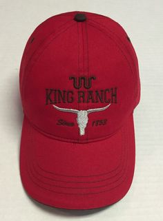King Ranch Hat Since 1853 Baseball Cap Ranching Beat Up Red Corpus Christi  Texas 6391acc88a8f