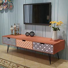 Contemporary Living Room TV Unit - TV Stand Cabinet Drawers Brown Storage Modern Side End Table Display Furniture. Boho Living Room, Living Room Tv, Living Room Furniture, Home Furniture, Space Furniture, Cottage Living, Cabinet Furniture, Vintage Furniture, Modern Furniture