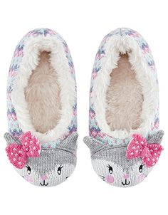 Knitted with a Fairisle pattern and sweet cat faces at the toes, our Chloe Cat slippers for girls will treat her feet to comfort. They are lined with the sof. Ballerina Slippers, Cute Slippers, Slippers For Girls, Fair Isle Pattern, Knitting For Kids, Cat Face, Luxury Shoes, Chloe, Baby Shoes