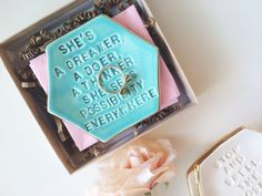 She's a Dreamer Quote Ring Dish Custom Ring Dish by PotteryLodge