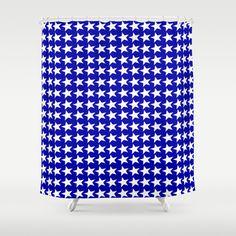 Blue white #stars #shower #curtain