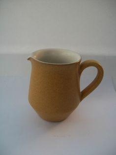 """Denby Ode Milk Jug Creamer 3 1/2"""" 9cm high 1960's 70's Sand Beige Mustard White £8"""