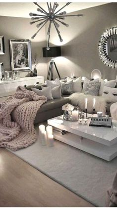 Cute Bedroom Decor, Living Room Decor Cozy, Living Room Grey, Living Room Interior, Living Room Ideas Grey And White, Living Room Themes, Cool Living Room Ideas, Grey Living Room Ideas Color Schemes, Cute Living Room