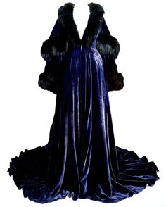 The Blue Velvet Peignoir worn by Vivien Leigh as Scarlett O'Hara in 'Gone With The Wind' and restored by University of Texas at Austin.