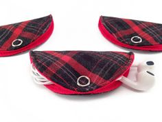 Cord Taco, Cord Holder, Earbuds Holder, Cable Management - Checked & Red Cotton