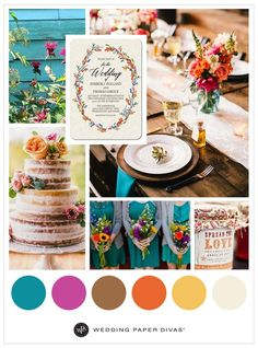 Rustic doesn't mean brown neutral tones. Soft creams and weathered wood can be a perfect backdrop to pops of color, like turquoise, fuchsia, orange or a buttercream yellow. These vibrant colors add a wake-up call to any wedding. This rustic revival is sprinkled with colors that accent tables, adorn cakes and spruce up invites. Show your guests a colorful setting that awakens their senses and adds a unique spin to a rustic wedding theme.