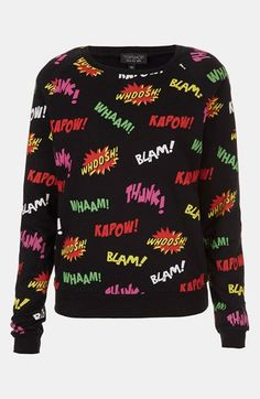 Comic Book Print Sweatshirt