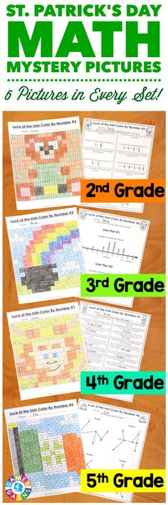 """""""My students LOVE these because they are fun to solve and color! I love them because it is a great review of the skills!"""" These St. Patrick's Day Math Color by Number Activities are the perfect way to review key math skills taught so far this year. Each set comes with 6 different pictures, and each picture focuses on a different skill. Different versions available for 2nd, 3rd, 4th, and 5th grades."""