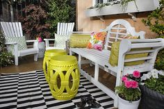 Looking for a way to add a jolt of color to your patio?  These cast stone garden stools from the Home Depot can be painted any color you like!