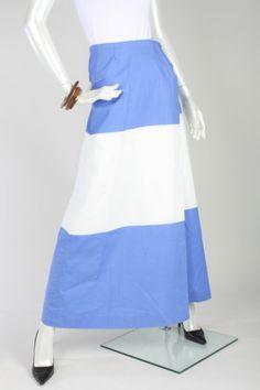 """Vtg 70s Marimekko Blue White Striped Long Wrapper Skirt """"Silta"""" Fabric"""