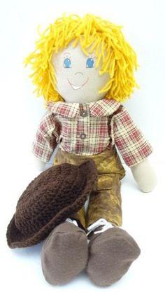 boy cloth rag doll blond handmade homemade ragdoll NF143