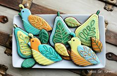 Partridge and Pear cookies. Inspired by Larissa Holland felt work. Yankee Girl Yummies.