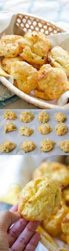 Cheddar Cheese Puffs - French puff pastry loaded with cheddar cheese and chopped scallions, so buttery, cheesy, yummy and easy to make! Tapas, New Recipes, Cooking Recipes, Favorite Recipes, Easy Delicious Recipes, Yummy Food, Healthy Recipes, Queso Cheddar, Snacks