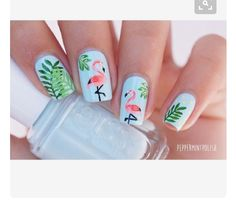 """Ever since I participated in the Essie Olympics I've wanted to re-do my flamingo nails, and I've finally done it ! They look so pretty Base colour: """"Mint candy apple"""" by /essie_chile/ ❤️; everything else was hand painted with acrylic paint Nail Art Designs, Nails Design, Pedicure Designs, Beach Nail Designs, Tropical Nail Designs, Beach Nail Art, Summer Nail Designs, Mint Nail Art, Animal Nail Designs"""