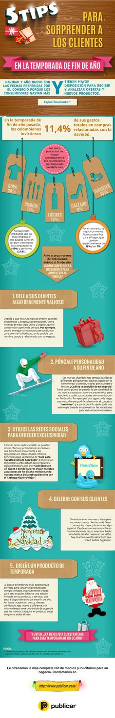 #Infografia #Marketing 5 Tips para sorprender a tus clientes a fin de año. #TAVnews