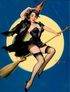 Vintage Halloween pin up.  Witch on a broom