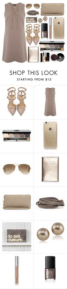 """""""Lace-up dress"""" by marincounty ❤ liked on Polyvore featuring Valentino, Miss Selfridge, Bobbi Brown Cosmetics, Rifle Paper Co, Chanel, Ray-Ban, MICHAEL Michael Kors, Pieces, Carolee and Trish McEvoy"""
