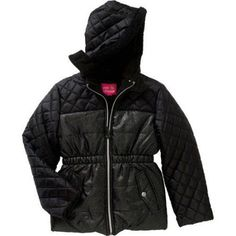 Pink Platinum Girls' Spray Foil Quilted Puffer Jacket with Pockets and Faux Fur Trimmed Hood, Girl's, Size: 4, Black