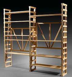 Enzo MARI (Né en 1932) Bibliothèque U - création 1974 Pin naturel
