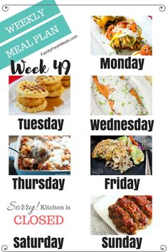 Welcome back to another easy weekly meal plan week 49! #MealPlanning #mealprep #mealplan #familyfreshmeals #easyrecipes #familyrecipes #familyfavorites