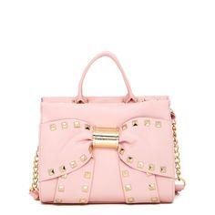 Betsey Johnson Viva La Bow Satchel ($50) ❤ liked on Polyvore featuring bags, handbags, pink purse, pink satchel, bow handbag, betsey johnson handbags and studded purse