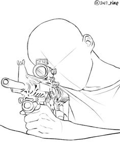 Holding a sniper Drawing Techniques, Drawing Tips, Drawing Reference, Drawing Sketches, Art Drawings, Anatomy Drawing, Manga Drawing, Drawing Base, Figure Drawing
