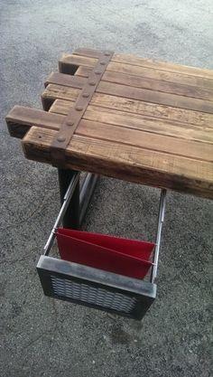 Desk industrial furniture rustic minimalist steel by IndustEvo