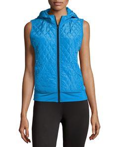 Neiman Marcus Active Hooded Quilted Zip-Front Vest, Electric Blue, Women's, Size: L, Elct Blu
