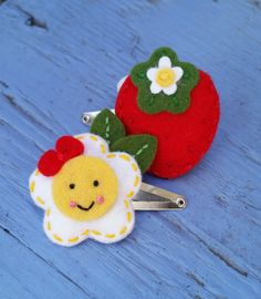 Wool Felt Strawberry and Flower  Snap Hair by BerryCoolDesigns