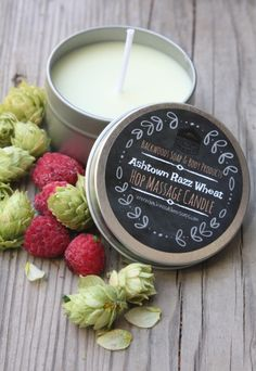 Razz Wheat Hop Massage Candle. Skin safe and made with our hop infused sweet almond oil.